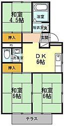 静岡県駿東郡清水町湯川の賃貸アパートの間取り