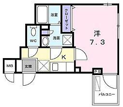 京王線 下高井戸駅 徒歩7分の賃貸マンション 2階1Kの間取り