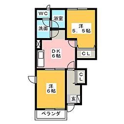 メゾンウィッシュA B[1階]の間取り