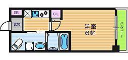 グランパシフィック北畠 3階1Kの間取り