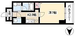 仮)道下町プロジェクト 5階1Kの間取り