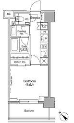 東京メトロ有楽町線 月島駅 徒歩1分の賃貸マンション 10階1Kの間取り