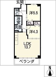 メナー浄心II[3階]の間取り