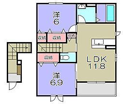 近江鉄道近江本線 八日市駅 バス24分 宝積下車 徒歩1分の賃貸アパート 2階2LDKの間取り