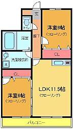 エムケイコーポ綾瀬[201号室]の間取り