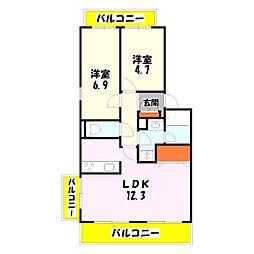 テラス竹ノ塚ウエスト[3階]の間取り