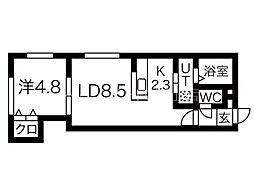 Mia moglie Kotoni(ミアモリエコトニ) 1階1LDKの間取り