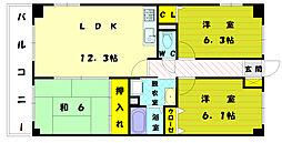 アブニール新宮1[4階]の間取り