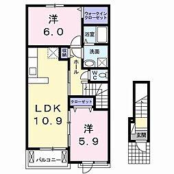 JR高徳線 阿波川端駅 徒歩26分の賃貸アパート 2階2LDKの間取り