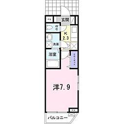 埼玉高速鉄道 新井宿駅 徒歩9分の賃貸アパート 1階1Kの間取り