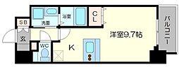 メインステージ京町堀 5階ワンルームの間取り