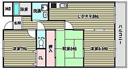 大阪府富田林市大字新堂の賃貸マンションの間取り