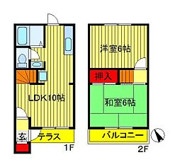 [テラスハウス] 千葉県柏市西柏台2丁目 の賃貸【/】の間取り