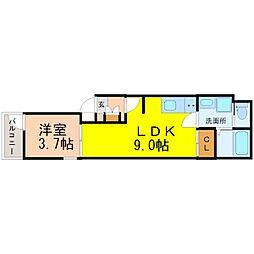 名古屋市営東山線 千種駅 徒歩7分の賃貸アパート 3階1LDKの間取り