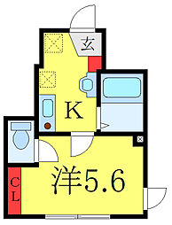 オーガスタコート板橋本町 1階1Kの間取り