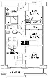 日商岩井第11緑地公園マンション 2階3LDKの間取り