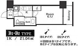 アドバンス西梅田ラシュレ 14階1Kの間取り