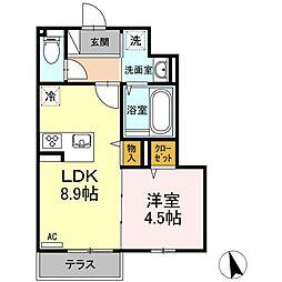 JR日豊本線 国分駅 5.5kmの賃貸アパート 1階1LDKの間取り