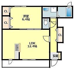 JR東海道本線 相見駅 5.9kmの賃貸アパート 1階2LDKの間取り