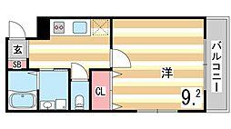 阪神本線 御影駅 徒歩5分の賃貸アパート 3階1Kの間取り