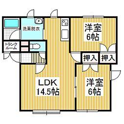 北海道苫小牧市新中野町2丁目の賃貸アパートの間取り