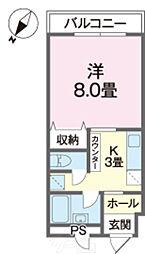 バス 棚原下車 徒歩3分の賃貸アパート 4階1Kの間取り