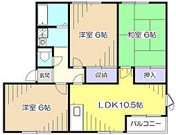 東京都東村山市久米川町3丁目の賃貸アパートの間取り