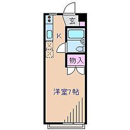 神奈川県横浜市港北区大曽根1丁目の賃貸アパートの間取り