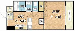 ジリオ大阪城南[202(B)号室]の間取り