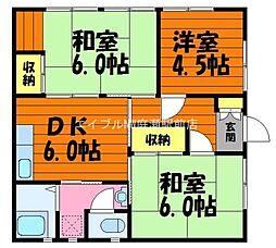 岡山県倉敷市松島丁目なしの賃貸アパートの間取り