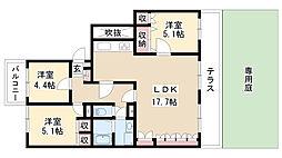 愛知県名古屋市瑞穂区松月町1丁目の賃貸マンションの間取り