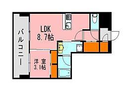 LANDICK320 12階1LDKの間取り