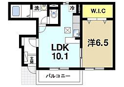 グラン・シャリオ 1階1LDKの間取り