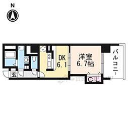 JR東海道・山陽本線 京都駅 徒歩9分の賃貸マンション 6階1DKの間取り