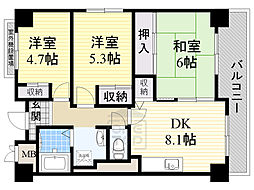Osaka Metro長堀鶴見緑地線 蒲生四丁目駅 徒歩3分の賃貸マンション 3階3DKの間取り