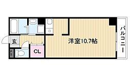 ブリランテ3番館 6階1Kの間取り