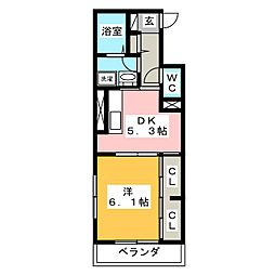ウィングパレス津島笹が瀬[3階]の間取り