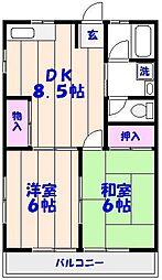 上山スカイハイツ[101号室]の間取り