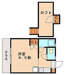 プランドゥ五条B棟[1階]の間取り