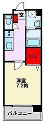 JR鹿児島本線 折尾駅 徒歩19分の賃貸マンション 2階1Kの間取り