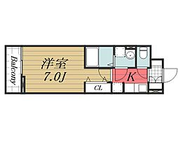 JR成田線 成田駅 徒歩20分の賃貸アパート 1階1Kの間取り