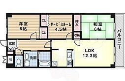 阪急千里線 南千里駅 徒歩16分の賃貸マンション 6階3LDKの間取り