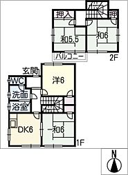 [一戸建] 愛知県春日井市東野町西2丁目 の賃貸【/】の間取り