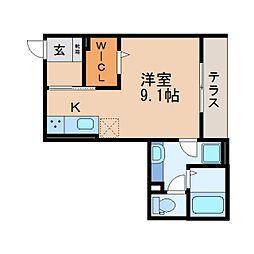 JR東海道本線 静岡駅 徒歩11分の賃貸アパート 1階ワンルームの間取り
