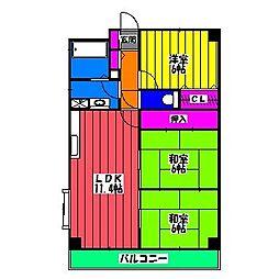 アバンダントTOU[5階]の間取り