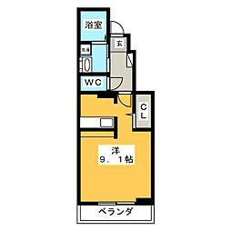 ベルソレイユ・K[1階]の間取り