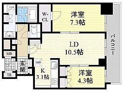 ブランズタワー梅田NORTH 12階2LDKの間取り
