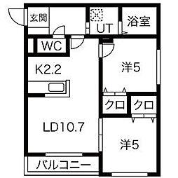札幌市営南北線 幌平橋駅 徒歩10分の賃貸マンション 4階2LDKの間取り