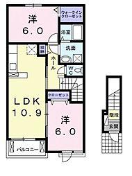 愛媛県松山市別府町の賃貸アパートの間取り