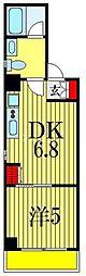 ボナクオリアXVI 市川南 2階1DKの間取り